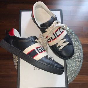 GUCCI BLACK ACE ELASTIC BAND SNEAKERS